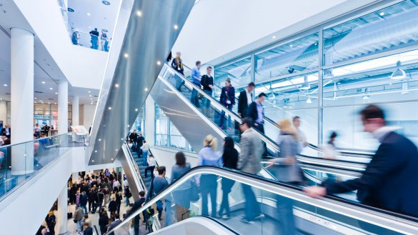 Rolltreppen in der Messe in Essen